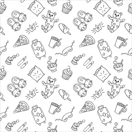 Seamless pattern of objects for pajama, sleepover or slumber party in doodle style. Hand drawn black outline isolated on a white background. For your design. Vector illustration.