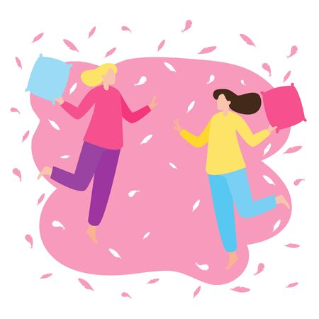 Young couple having fun at a pajama sleepover party. Two girls fight with pillows. Colorful concept for pajama party, slumber party, Valentine's day. Flat cartoon vector illustration.