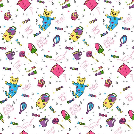 Seamless pattern of objects for pajama, sleepover or slumber party in doodle style. Hand drawn painted objects and outline isolated on a white background. Vector illustration for your design.