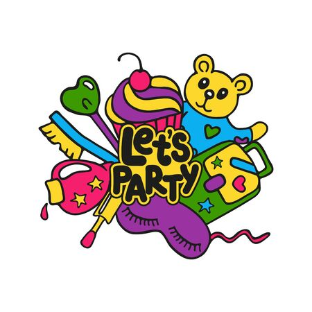 Hand drawn lettering Let's party. Bright colored concept for pajama sleepover or slumber party isolated on white background. Element for cards, stickers, posters, banners design. Vector illustration. 写真素材 - 133596392