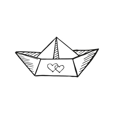 Single hand drawn paper boat with two hearts. In doodle style, black outline isolated on a white background. Cute element for design banner, card, stickers. Valentine's day vector illustration. Banque d'images - 133099584