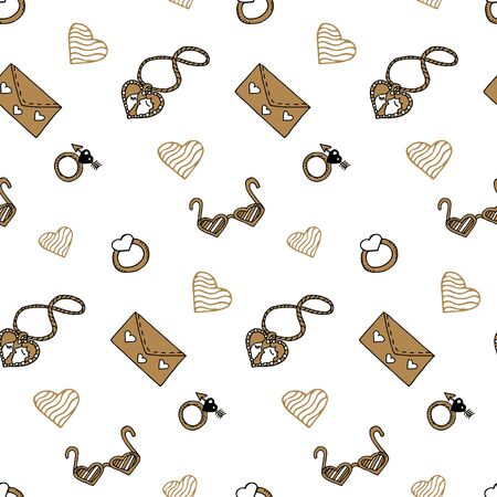 Valentine's day seamless pattern with gold elements in doodle style. Locket, glasses, ring, love letter, heart. Cute hand drawn texture for greeting cards, fabric, wrapping paper. Vector illustration.