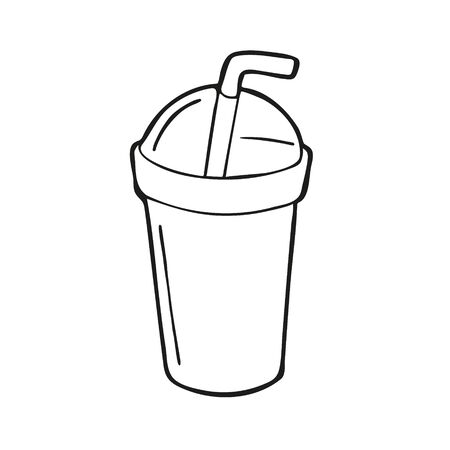 Single hand drawn cold drink or iced coffee takeaway cup. In doodle style, black outline isolated on a white background. Cute element for card, social media banner, stickers. Vector illustration.