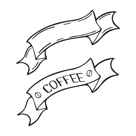 Hand drawn ribbon labels with lettering Coffee for cafe or restaurant. In doodle style, black outline isolated on a white background. Cute element for social media banner. Vector illustration.