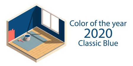Color of the year 2020 classic blue. Isometric low poly home room with walls in a trendy color. Repainting walls. Cute element for card, social media banners, stickers, posters. Vector illustration. Foto de archivo - 135501053