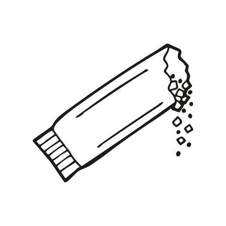 Bustina di zucchero disegnata a mano o bustina di caffè. In stile scarabocchio, contorno nero isolato su sfondo bianco. Elemento carino per carte, banner di social media, adesivi. Illustrazione vettoriale.