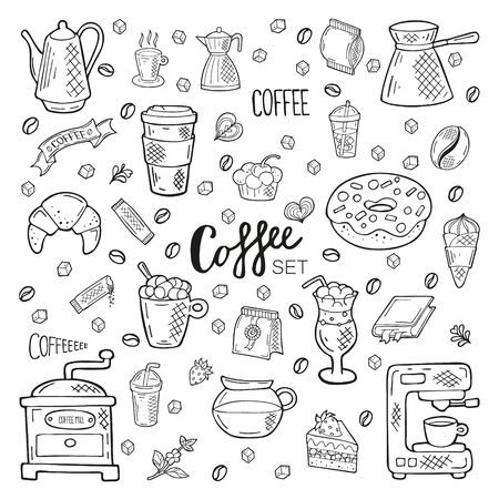 Big hand drawn coffee set. Lettering and objects in doodle style. Black outline isolated on a white background. Cute elements for card, social media banner, sticker, menu, design. Vector illustration. Vektoros illusztráció