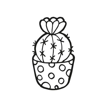 Single hand drawn cactus in pot. In doodle style, black outline isolated on white background. Cute element for card, social media banner, sticker, print, decoration kids playroom. Vector illustration.