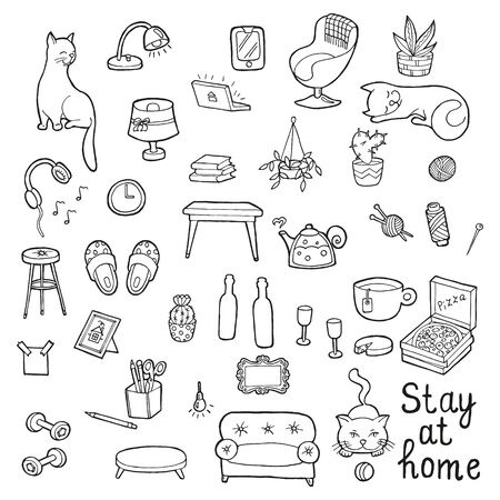 Stay at home. Hand drawn big set cozy home. In doodle style, black outline isolated on a white background. Cute element for card, social media banner, sticker, print, design. Vector illustration.