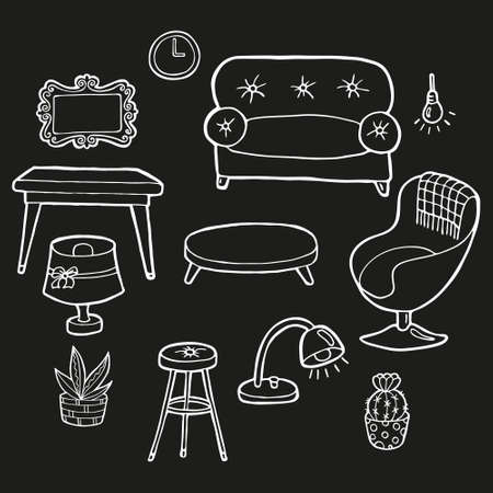 Hand drawn set of furniture for cozy house. In doodle style, white outline isolated on black background. Cute element for card, social media banner, sticker, print, decoration. Vector illustration.