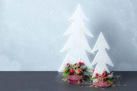 Handmade tree trees decorated with gerland Stock Photo