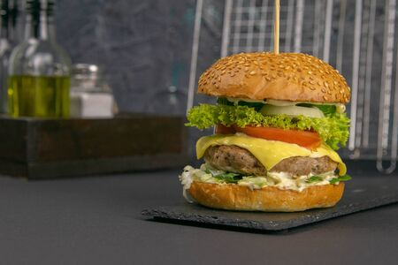 Close-up hamburger on a graphite stand, next to it are fries, tomatoes and peppers, a grill rack is behind.