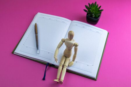 The figurine of a little wooden man sits on an open notebook, next to it stands a silver pen and an artificial green flower. Everything stands on a pink background.