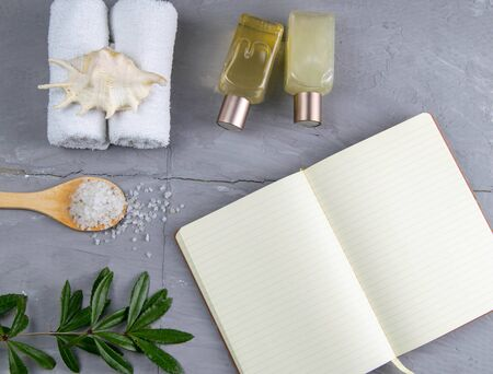 Spa with natural olive soap and sea salt and an open notebook for writing.