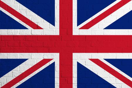 Flag of United Kingdom. Brick wall texture of the flag of United Kingdom.