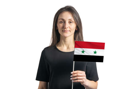 Happy young white girl holding Syria flag isolated on a white background.