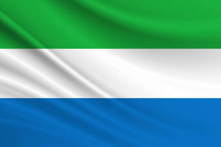 Flag of Sierra Leone. Fabric texture of the flag of Sierra Leone.
