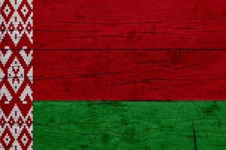 Flag of Belarus. Wooden texture of the flag of Belarus.
