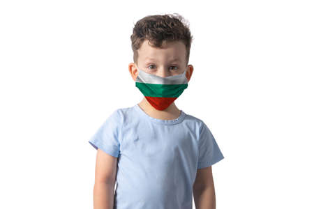 Respirator with flag of Bulgaria. White boy puts on medical face mask isolated on white background.