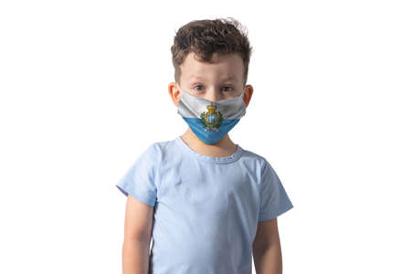 Respirator with flag of San Marino. White boy puts on medical face mask isolated on white background.