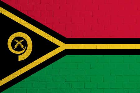 Flag of Vanuatu. Brick wall texture of the flag of Vanuatu.