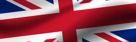 Banner with the flag of United Kingdom. Fabric texture of the flag of United Kingdom.