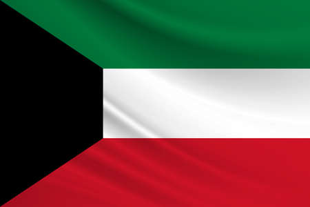 Flag of Kuwait Fabric texture of the flag of Kuwait. 免版税图像