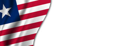 Liberia flag on white background. White background with place for text near the flag of Liberia.