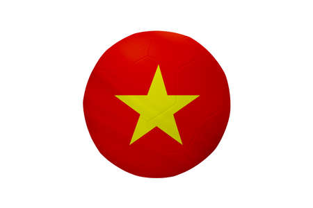 Football in the colors of the Vietnam flag isolated on white background.