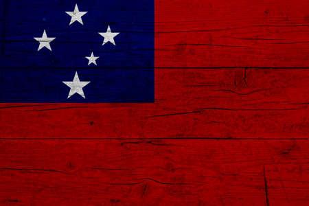 Flag of Samoa. Wooden texture of the flag of Samoa.