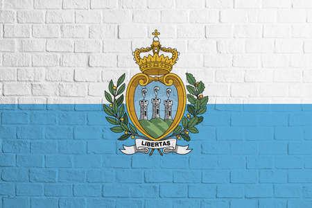 Flag of San Marino. Brick wall texture of the flag of San Marino.