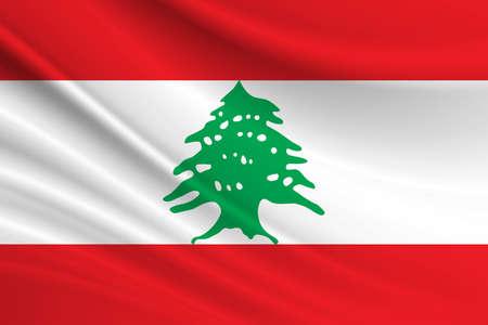 Flag of Lebanon. Fabric texture of the flag of Lebanon. 写真素材