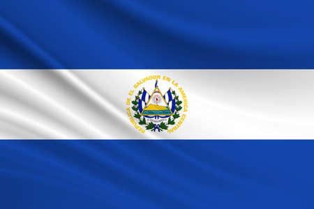 Flag of El Salvador. Fabric texture of the flag of El Salvador.