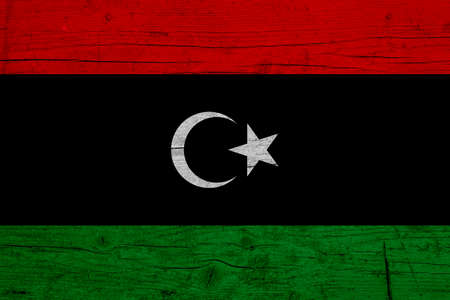 Flag of Libya. Wooden texture of the flag of Libya.