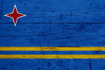 Flag of Aruba. Wooden texture of the flag of Aruba. 写真素材