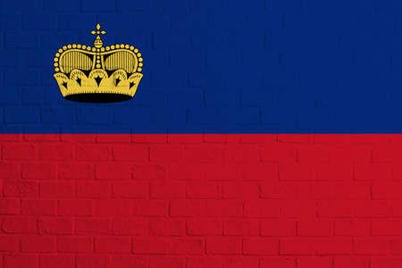 Flag of Liechtenstein. Brick wall texture of the flag of Liechtenstein.