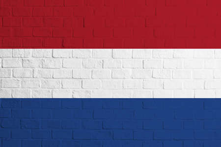 Flag of Netherlands. Brick wall texture of the flag of Netherlands.