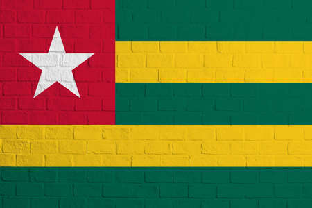 Flag of Togo. Brick wall texture of the flag of Togo. 写真素材