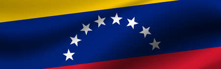 Banner with the flag of Venezuela. Fabric texture of the flag of Venezuela. 写真素材