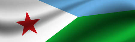 Banner with the flag of Djibouti. Fabric texture of the flag of Djibouti.