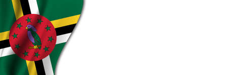 Dominica flag on white background. White background with place for text near the flag of Dominica.