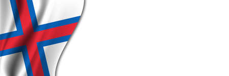 Faroe Islands flag on white background. White background with place for text near the flag of Faroe Islands.