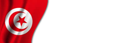 Tunisia flag on white background. White background with place for text near the flag of Tunisia.