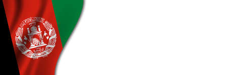 Afghanistan flag on white background. White background with place for text near the flag of Afghanistan.