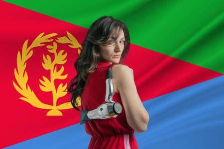 Beauty industry in Eritrea Happy female hairdresser holding hairdryer against Eritrea flag background.