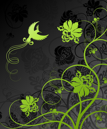 rococo style: Floral decoration. Beautiful vector illustration.