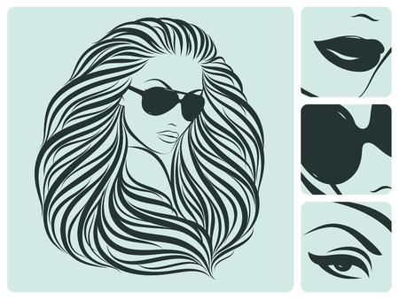 erotic: Long hairstyle. Beautiful vector illustration. Illustration