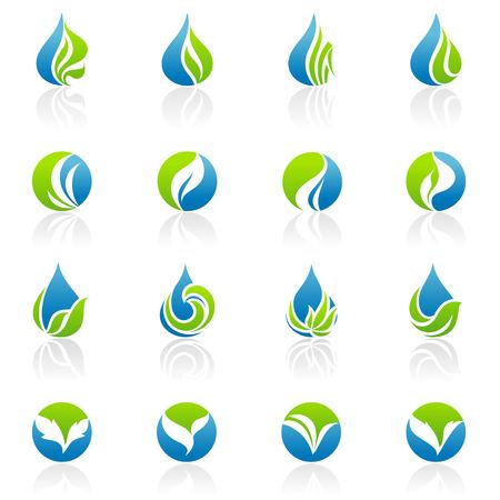 logo reciclaje: Hojas. Conjunto de plantillas de logotipo de vector. Elementos de dise�o. Vectores