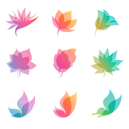 leaf logo: Pastel nature. Elements for design. Vector illustration. Illustration