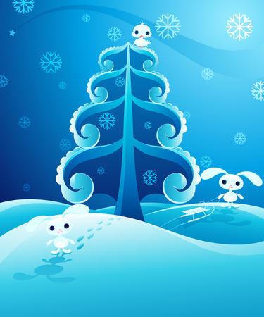 Pretty winter landscape with cute baby animals. Vector illustration. Stock Vector - 9087623